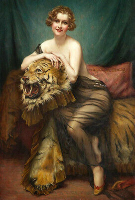 Oil painting Francois Martin-Kavel beautiful young woman with Tiger skin Steller