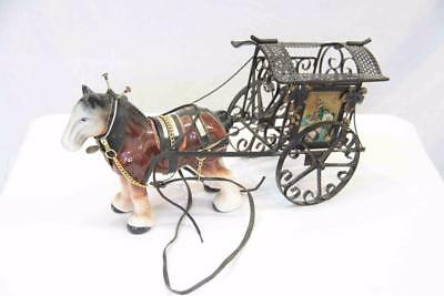 Vintage ceramic horse decorated with riding accessories #12698