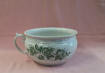 BEAUTIFUL ANTIQUE CHAMBER POT w/ GREEN ROSES Great L@@K!