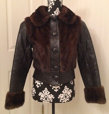 vintage 1950's jacket, mink and leather, bomber style