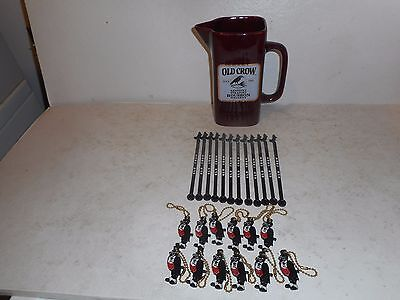 Group of Old Crow Swizzle Sticks/ Key Chains &  Maroon Old Crow Pitcher
