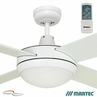 """MARTEC LIFESTYLE 52"""" WHITE CEILING FAN WITH 2 x E27 LIGHT + REMOTE CONTROL"""