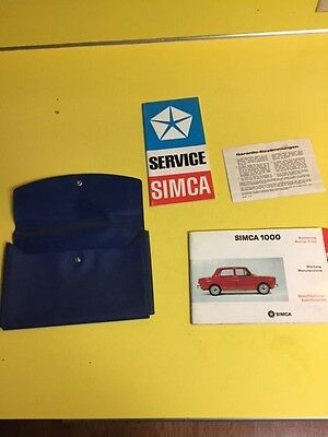 1967 Simca 1000 Owners Guide Manual Case and warranty info