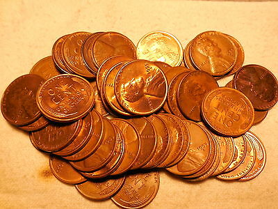 50 pcs.FULL ROLL LINCOLN WHEAT CENTS 1955-S AU/RB