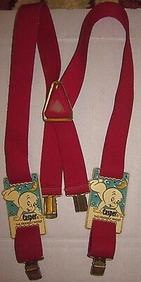 RARE Casper the Friendly Ghost Suspenders Vintage Cartoon Animated Red Elastic