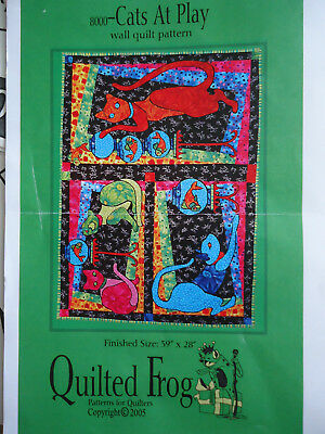 """Cats At Play. Wall quilt pattern. finished size  39"""" x 28"""" pattern only"""
