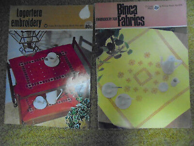 2 Vintage Embroidery Books by Coats. Binca  fabric and Lagartera embroidery