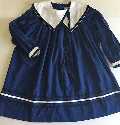 Vintage Youngland Dress 6x Royal Blue Stripes Unique Collar Long Sleeves