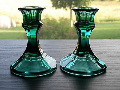 """Set of 2 Spruce Green  4"""" Glass Taper Candlestick Holders Cake Stand Base"""