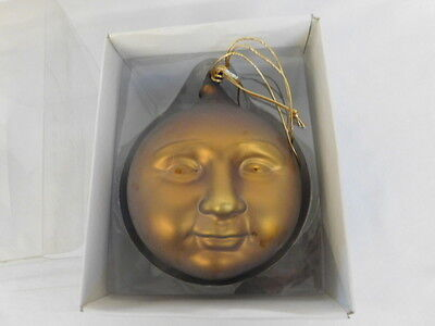 Dept 56 Frosted Mercury Glass Moon Face Ornament Large 9074-3