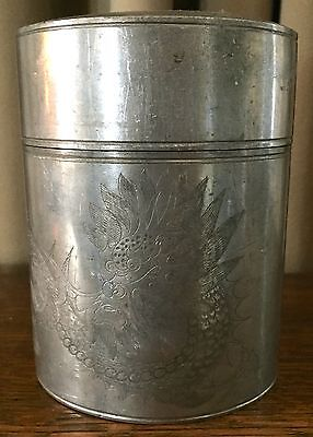 Antique 19th Century Kut Hing Swatow Pewter Tea/Tobacco Caddy w/ 2 Dragons, nice