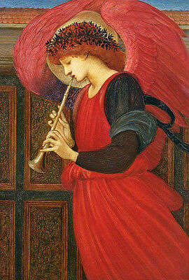 Perfect Oil painting young angel playing Trumpet wit red wings Hand painted