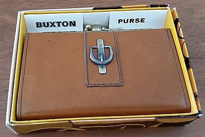 Vintage 1970s NIB Buxton New Zealand CARAMEL TAN BROWN Leather Coin Purse