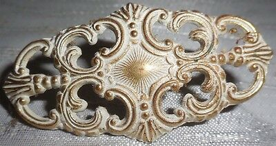 Antique Victorian Brass Dresser Drawer Handle Pull Knob Gold White Scrolled Vtg