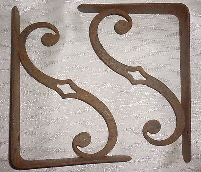 Vtg Pair Hammered Wrought Iron Scroll Book Shelf Brackets Art Mid Century MCM