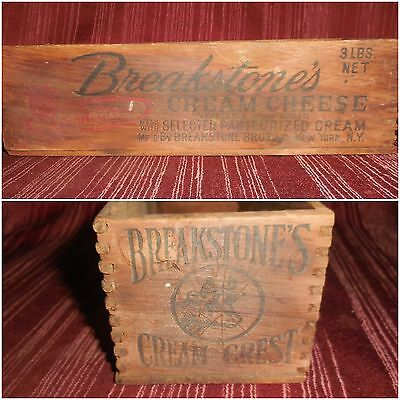 VTG Breakstone COW Cream Cheese Crest wood box crate old Advertising Farm Art