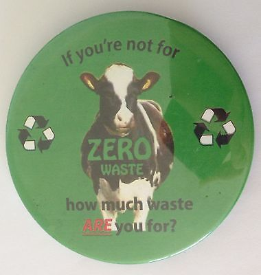 Zero Waste Environment Cow Button Badge Pin Vintage Authentic (N14)