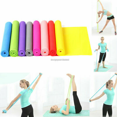 Elastic Yoga Pilates Rubber Stretch Resistance Exercise Fitness Band Belt 1.2m