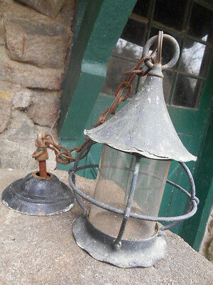 Antique Copper w/Glass Lantern Porch Light Lamp - Arts & Crafts or Mission Style