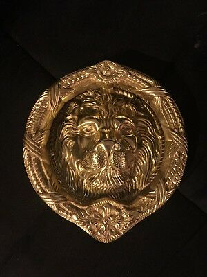 Large Vintage European Solid Antique Brass Leo Lion Head Front Door Knocker