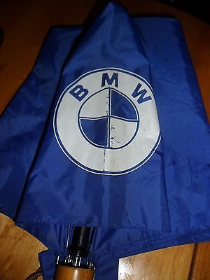 Bmw Blue Umbrella With Wooden Handle