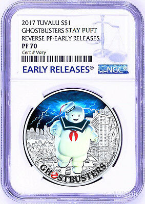 2017 Ghostbusters Stay Puft 1oz Silver $1 Coin NGC REVERSE PF70 Early Releases