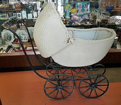 Antique White Wicker full size Baby Buggy Stroller Carriage lining inside great!