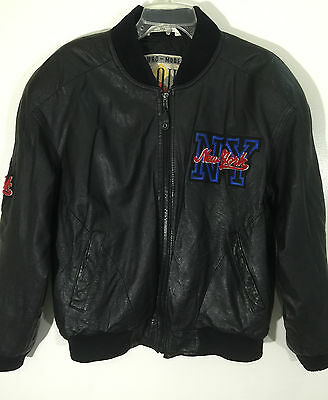 IOU Men's Black Leather Jacket New York Embroidery Patch Bomber Size Small, S