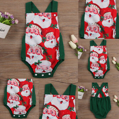 NEW Newborn Baby Girls Boys Jumpsuit Bodysuit Romper Outfits Xmas Clothes USA