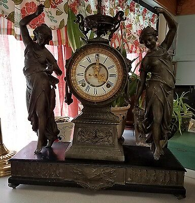 Antique 19th C Ansonia Double Figural Statue Slate & Cast Iron Clock WORKS Great