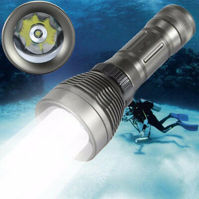 8000 Lumens Underwater Scuba T6 LED Diving Flashlight Torch 26650 Lamp Light