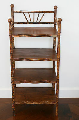 Antique Bamboo Bookcase With 4 Shelves - Vintage Victorian