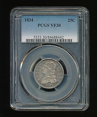 1834-P Capped Bust Silver Quarter Dollar 25C PCGS VF 30 Type 2, Small Size