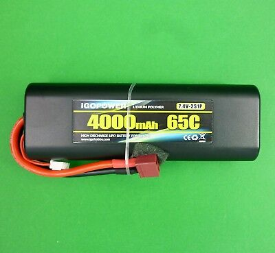 4000 mAh 7.4 volt LiPo hard case stick pack shape battery 65C for Tamiya Axial