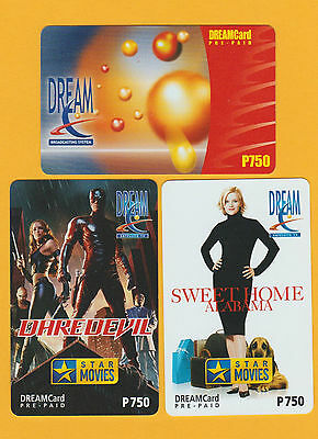 2005 Philippines Set of THREE DREAM  Phonecards