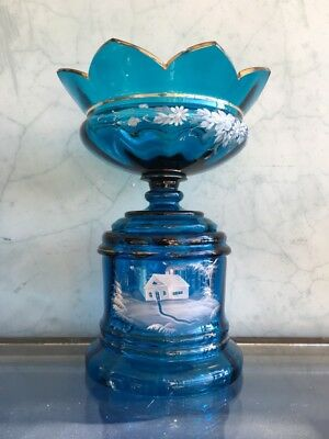 Large Victorian blue glass centerpiece with white enamel scene, c. 1890
