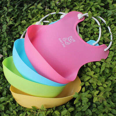Baby Waterproof Silicone Bib Infants Feeding Lunch Roll-up Apron
