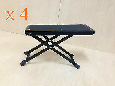 Four(x4) J-46 Height Adjustable Guitar Footrest/Footstool,Metal Frame,Rubber Top