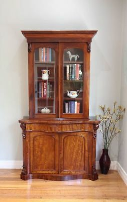 Antique Carved Serpentine Front Library Bookcase Glass Display Cabinet + Drawer