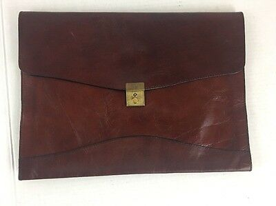 Vintage Red/burgundy Leather Scully Document Envelope Brief