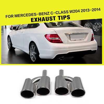 Stainless Steel Rear Exhaust Dual Tips Tail Muffler Pipes for Benz W204 13-14