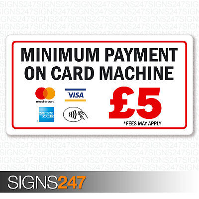 Minimum Payment £5 Sticker Mastercard AMEX Visa Contactless Printed Vinyl