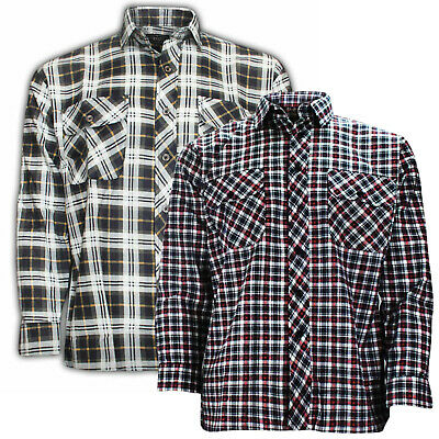 Men Check Work Shirt High Quality Flannel Lumberjack Cotton Casual