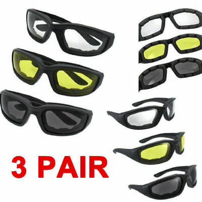 3 Pair Motorcycle Biker Riding Glasses Padded Wind Resistant Sunglasses Goggles