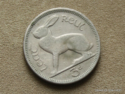 Ireland Republic 1943 Threepence Hare Circulated Irish #ybp90