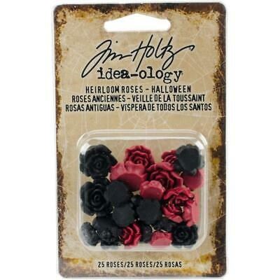 Tim Holtz Idea-Ology - Heirloom Roses - Red and Black - 25 Pieces