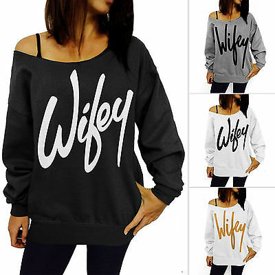 Womens Wifey Jumpers Off Shoulder Print Sweatshirt Slouch Pullover Sweaters Tops