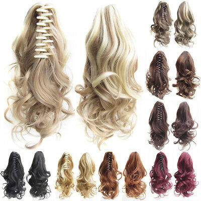 Women Clip In Wave Curly Claw Short Ponytail Synthetic Hairpieces Extensions