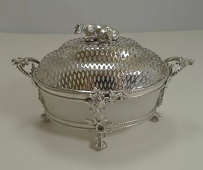 English Victorian Silver Plated Butter Dish - Cow c.1880