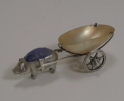 Antique Sterling Silver and Mother of Pearl Pin Cushion